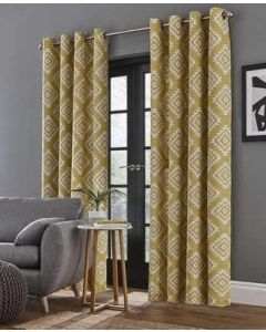 Catherine Lansfield Aztec Ochre Eyelet Curtains