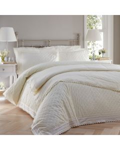 Luxury percale embroidered bedspread set - Balmoral - Cream