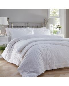 Luxury percale embroidered bedspread set - Balmoral - White