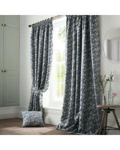Bayford Jacquard Pencil Pleat Curtains Curtains - Ink