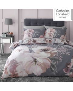 Catherine Lansfield Dramatic Floral Duvet Cover Set - Grey