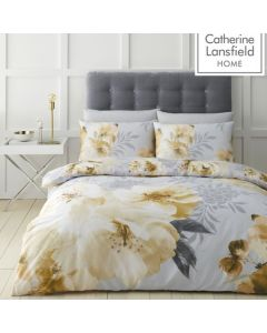 Catherine Lansfield Dramatic Floral Duvet Cover Set - Ochre