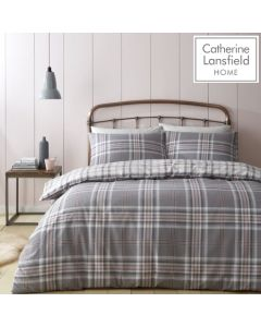 Catherine Lansfield Kelso Duvet Cover Set - Pink/Grey
