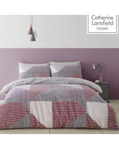 Catherine Lansfield Larsson Geo Duvet Cover Set - Plum