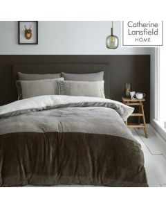 Catherine Lansfield So Soft Velvet Sherpa Duvet Cover Set - Natural