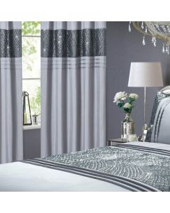 Charleston Sequin Eyelet Curtains - Grey - 66x72""