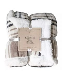 Check Sherpa Throw - Taupe and Grey - 152x177cm