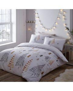 Christmas Trees Duvet Cover Set - White & Gold