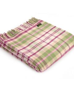 All Wool Cottage Check Throw - Pink - 150x183cm