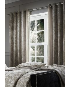 Catherine Lansfield Crushed Velvet Eyelet Curtains - Natural