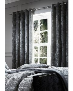 Catherine Lansfield Crushed Velvet Eyelet Curtains - Silver
