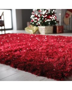 Dazzle Shaggy Rug - Red