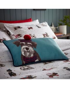 Fat Face Sledging Dogs Seafoam Filled Cushion - Teal - 30x50cm