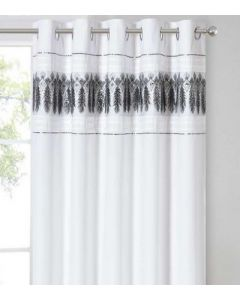 Feathers Eyelet Curtains - White/Silver - 66x72""
