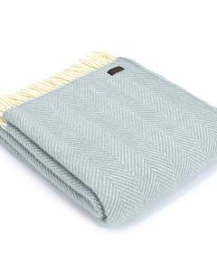 All Wool Fishbone Throw - Duck Egg - 150x183cm
