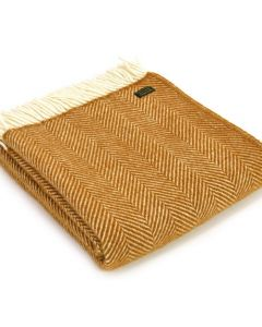 All Wool Fishbone Throw - Mustard - 150x183cm