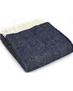 All Wool Fishbone Throw - Navy - 150x183cm