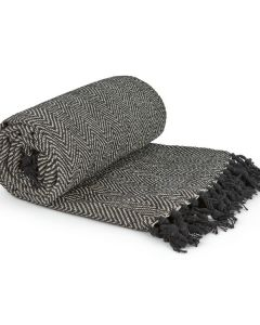 Herringbone Throw Cotton - Black