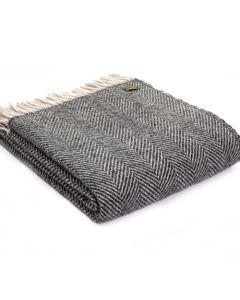 All Wool Herringbone Throw - Charcoal - 150x183cm