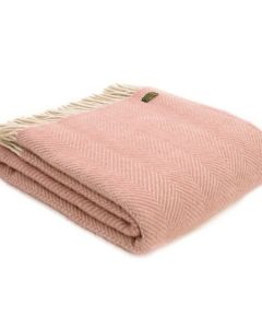 All Wool Herringbone Throw - Dusky Pink/Pearl - 150x183cm