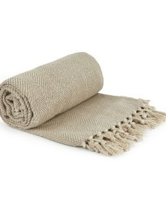 Herringbone Throw Cotton - Natural