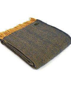 All Wool Herringbone Throw - Navy/Mustard - 150x183cm