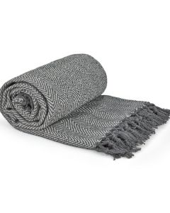 Herringbone Throw Cotton - Silver