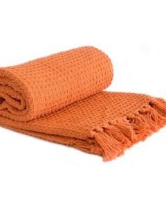 Honeycomb Throw Cotton - Burnt Orange