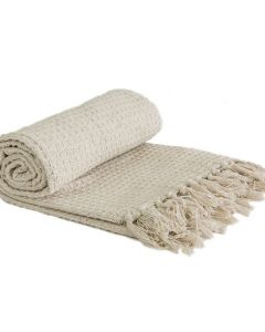 Honeycomb Throw Cotton - Ivory