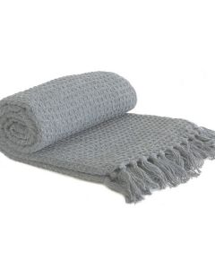 Honeycomb Throw Cotton - Silver