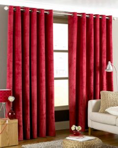 Imperial Eyelet Curtains - Red