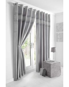 Kimberley silver eyelet curtains