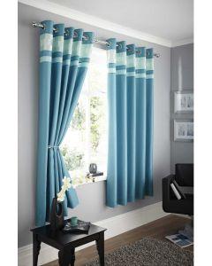Logan eyelet curtains, teal blue