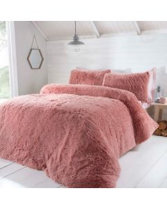 Luxury Fur Duvet Cover Set - Blush
