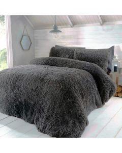 Luxury Fur Duvet Cover Set - Charcoal