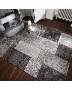 Manhattan Patchwork Chenille Rug - Black/Grey - 155x230cm