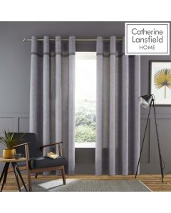 Catherine Lansfield Melville Eyelet Curtains - Grey