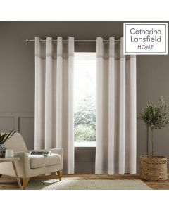 Catherine Lansfield Melville Eyelet Curtains - Natural