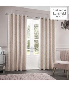 Catherine Lansfield Myles Jacquard Eyelet Curtains - Natural - 90x90""