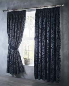 Oak Tree Pencil Pleat Curtains - Midnight Blue - 66x72""