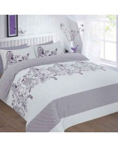 Owls duvet cover set - plum