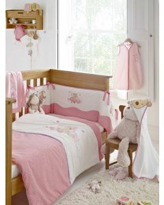 Embroidered Nursery Bedding range - Patch - Pink