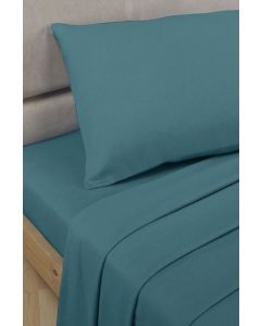 Percale Fitted Sheets - teal blue
