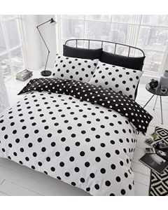 Catherine Lansfield Polka Dot Duvet Cover Set - Black