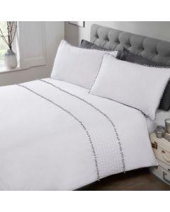 Pom Pom Duvet Cover Set - White/Grey