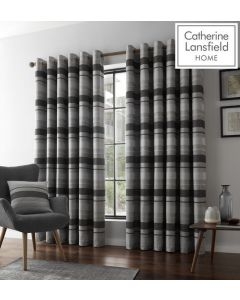 Catherine Lansfield Powel Jacquard Eyelet Curtains - Grey