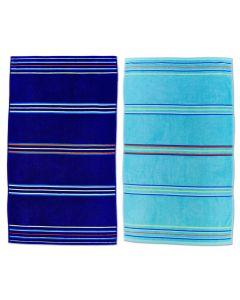 Catherine Lansfield Rainbow Beach Towel Twin Pack - Blue