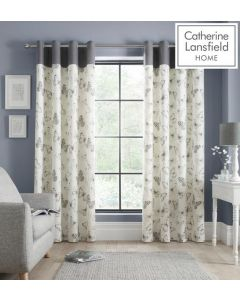 Catherine Lansfield Sibella Butterfly Eyelet Curtains - Grey