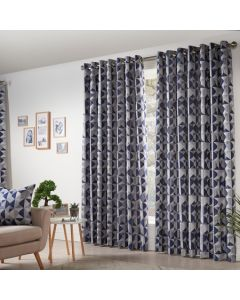 Skandi Eyelet Curtains - Navy
