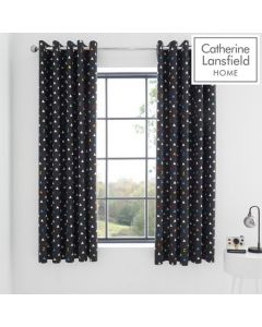 Catherine Lansfield Sleep Glow In The Dark Eyelet Curtains - 66x72""